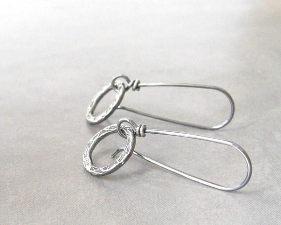 silver dangle earrings rustic silver earrings metalwork earrings lightweight earrings fine silver sterling silver