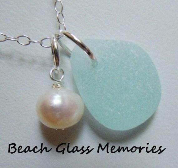 SALE Aqua Sea Glass Necklace -   Beach Glass Necklace