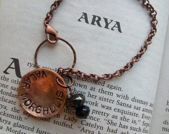Old world Thrones style Copper Bracelet ~ Hand Hammered Penny~ valar morghulis ~ hand metal stamped