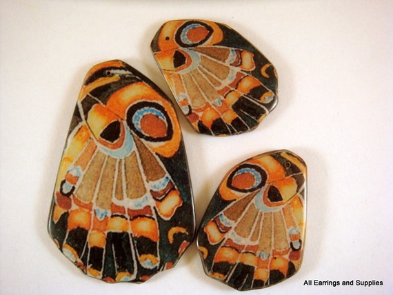 3 pc Butterfly Wing Pendant Focal Set Double Sided Laminated Focal - 3 pc - 5688