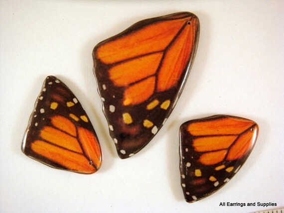 3 pc Butterfly Wing Pendant Focal Set Double Sided Laminated Focal - 3 pc - 5692