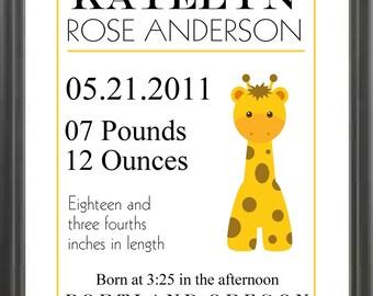 Birth Announcement Print/Boy or Girl Birth Announcement/Giraffe Nursery Wall Art/Baby Announcement/Shower Gift for Baby Girl or Baby Boy