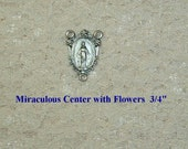 Silver Miraculous with Flowers Rosary Making Center Parts Supplies