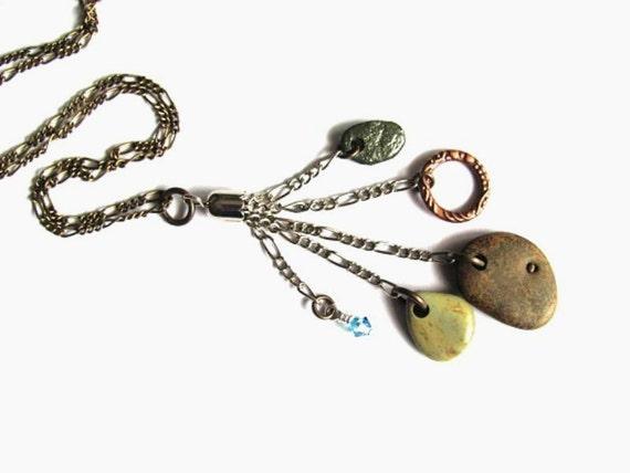 Beach Stone Necklace Mixed Metals Eco Friendly Beach Stones Swarovski Crystal Beach Stone Jewelry by Hendywood