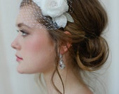 Bridal Hairband with Mini Veil in Light Ivory by FIne & Fleurie