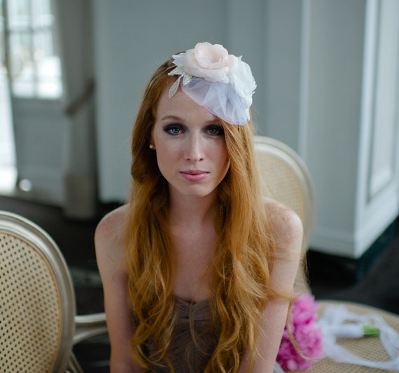 Bridal Hairband with Tulle Mini Veil and Handmade Silk Flowers by Fine & Fleurie