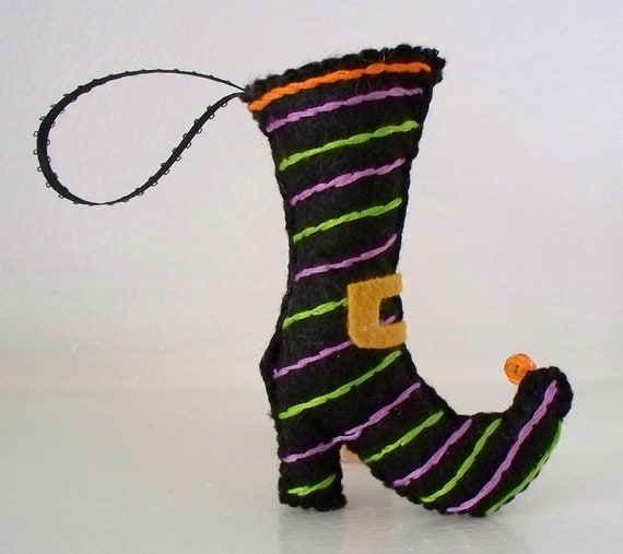 Halloween Felt Hanging Ornament - Fancy Witch Boot - Holiday Hanging Ornament