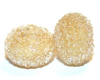 Almond Creme Sugar Bead Pair  Lampwork Glass
