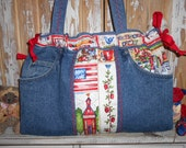 TEACHERS Purse School Denim Red Blue Plaid 8 Pocket Organizer Tote Sholder Bag
