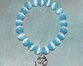 Om Buddha Cat's Eye Light Blue Bracelet