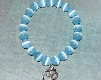 Om Buddha Cat's Eye Light Blue Bracelet