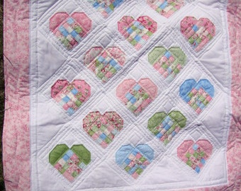 Scrap Patch Hearts Crib quilt - REDUCED