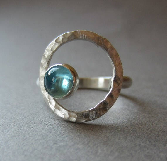 aqua apatite silver open circle ring READY TO SHIP size 7