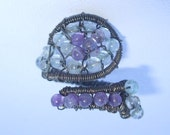 Amethyst, Aquamarine, oxidized sterling silver wire wrapped ring