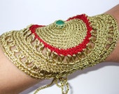 Red and Metallized Old Gold Crochet Lace Malachite Gemstone Bracelet