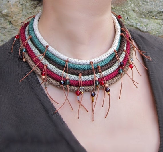 SATINKA Ethnic Tribal Country Collar Necklace Cotton yarn Crochet Beads Crystals Wooden Button Native American