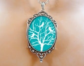Birds Necklace Valentine Gift - Tree Necklace Blue Jewelry Wearable Art Gift For Her
