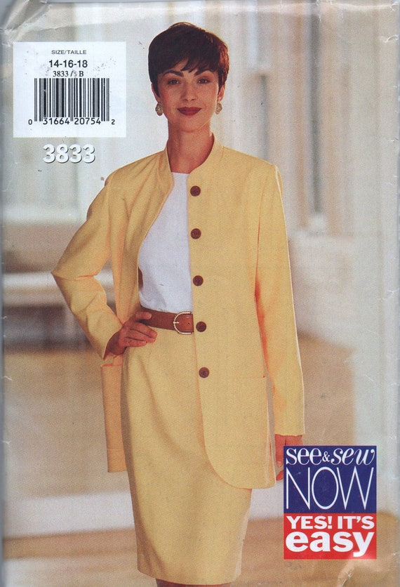 VERY RARE 1990s sewing pattern UNCUT See & Sew Butterick 3833 size 14 16 18 bust 36 38 40 Misses jacket and skirt