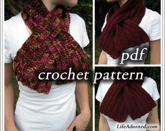 Crochet Pattern pdf - Ribbed Keyhole Scarf