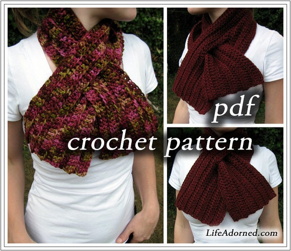 Crochet Pattern Keyhole Scarf : Items similar to Crochet Pattern pdf - Ribbed Keyhole ...