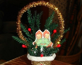Santa Elves Basket Christmas Ornament Vintage Inspired