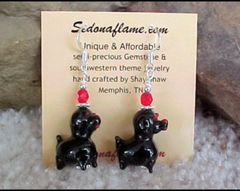 Dog Lovers Lampwork Black Puppy Dog Earrings 0821