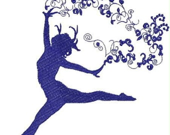 Leaping Dancer Embroidery Design