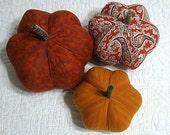 fabric pumpkins - fresh modern - set of 3 p U m P k I nS