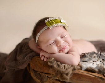 Lillian - Ruffled Olive Green Velvet and Lace Headband - or PINK - Bow - Vintage Inspired - Baby Infant Newborn Girls Adults - Photo Prop