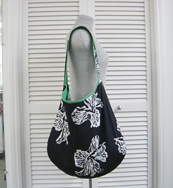 Final SALE was 39.00 now 10.00 HUGE Favorite Slouch Shoulder Bag Tote Purse HANDMADE-Navy Blue-White Flowers Large Enough for Laptop & iPad