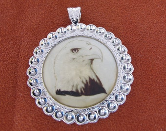 Stainless Steel Framed Eagle Graphic, 35mm Round Pendant, 1060-43