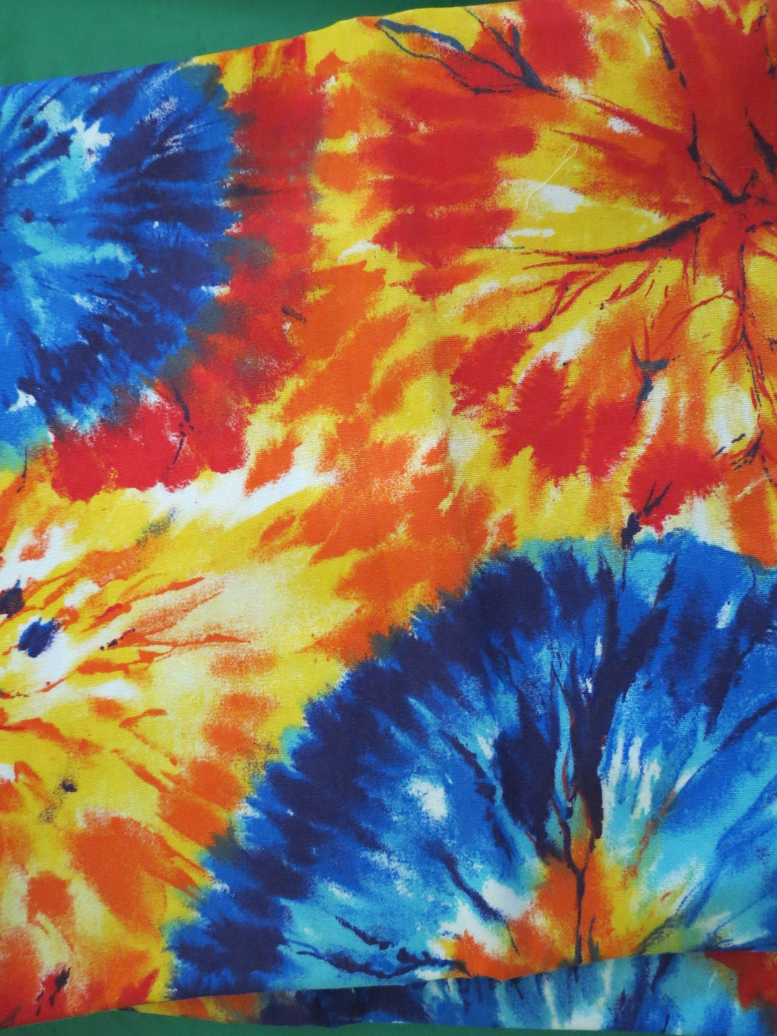 starburst tie die orange and blue fabric. Black Bedroom Furniture Sets. Home Design Ideas