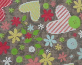 Hearts and Flowers with Green  Back Burp Cloth
