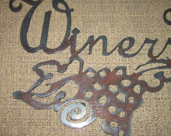 Winers Welcome Here Metal Art Wine Signs Home Decor Winery Decor Vineyard Decor Kitchen Wall Art