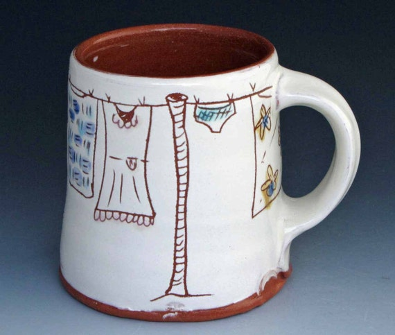 Clothesline Coffee Mug Terracotta Clay 12 fl. oz -AI