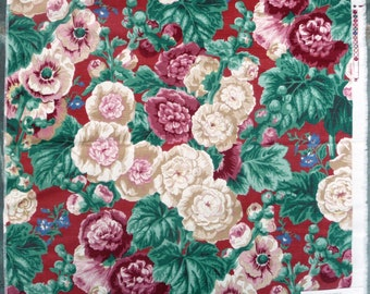 4 Avail- 100% Linen Floral Fabric - Home Decor Sample- Flower Design- Crimson Red Burgundy Green Cream Pink Tan Beige- Westgate - 28 x 27 in