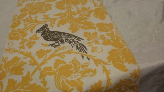 YELLOW DAMASK BIRD Linens, Table Runners, or Napkins Or Placemats,  Bird on White Yellow Leaf Flower -Grey/Taupe Wedding Bridal Home Decor