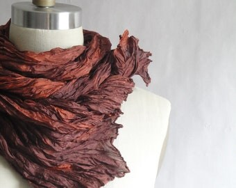 Orange Silk Scarf Shawl Hand Dyed from Textured Silks Collection - Flame