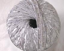 Ladder Ribbon glitter yarn, SILVER metallic trellis yarn, railroad yarn, sparkle yarn, Berlini East Track II, 90