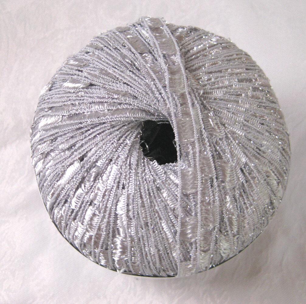 Ladder Ribbon glitter yarn SILVER metallic trellis by crochetgal