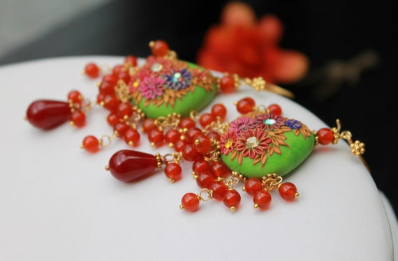 Fiery Carnelian, Pink Ruby Jade  gemstone cluster earrings with clay floral beads  -Bright green and red - Geraniums in Bloom