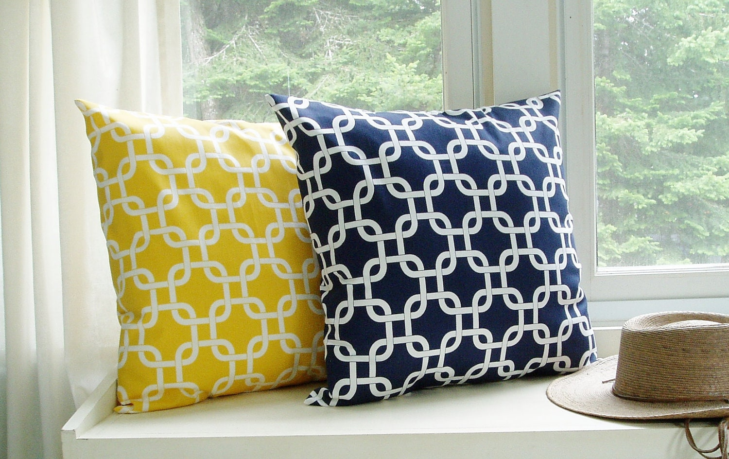 Throw Pillow Covers Yellow : Nautical Pillow Covers Decorative Pillows Yellow Pillow Navy