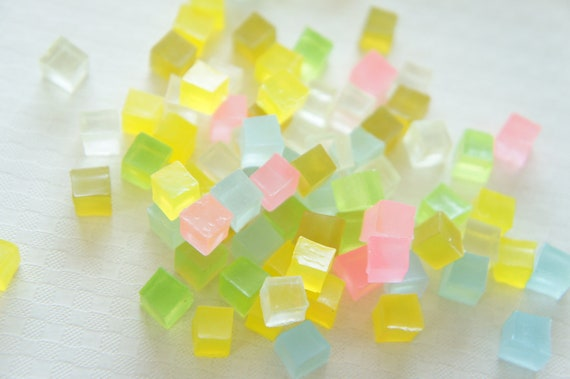 Assorted 22 pcs Tiny Colorful Square Jelly Cabochons (7mm) CD402 (((LAST)))