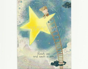 "Reach Out and Touch a Star Back to School Blank  Greeting Card, 4 x 6 "" Art Print of my Illustration"
