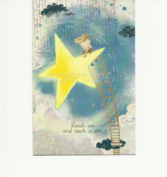 """Reach Out and Touch a Star Back to School Blank  Greeting Card, 4 x 6 """" Art Print of my Illustration"""