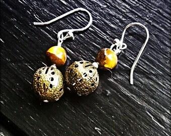 Tigers Eye - Wire Wrapped, Tigers Eye, Brass Filigree, Sterling Silver, Earrings