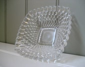 Square Glass Tray Hobnail Knobby Clear Ashtray