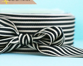 Black and Cream Stripe Grosgrain Ribbon