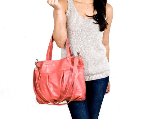 Mini Ruche Bag in Sea Coral Pink Leather - LAST ONE - Made to Order