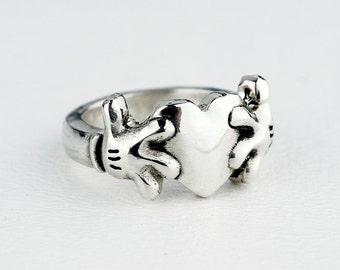 Claddagh Ring Wedding Band Sterling Silver Heart Hand Band Custom